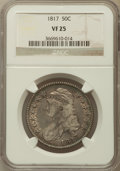 Bust Half Dollars: , 1817 50C VF25 NGC. NGC Census: (17/403). PCGS Population (34/543).Mintage: 1,215,567. Numismedia Wsl. Price for problem fr...