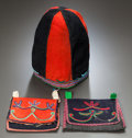 American Indian Art:Beadwork and Quillwork, A NASKAPI BEADED WOOL HAT AND TWO POUCHES. c. 1900... (Total: 3Items)