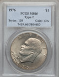 Eisenhower Dollars: , 1976 $1 Type Two MS66 PCGS. PCGS Population (442/9). NGC Census: (317/3). Mintage: 113,318,000. Numismedia Wsl. Price for p...