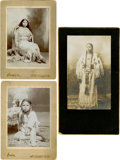 American Indian Art:Photographs, THREE STUDIO PORTRAITS - TWO CABINET CARDS BY WILLIAM E. IRWIN,CHICKASHA, I. T. AND A MOUNTED PHOTO BY DES COMBES, WATONGA, O...(Total: 3 Items)