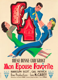 "My Favorite Wife (RKO, 1947). First Post-War Release French Grande (46"" X 63.5"")"