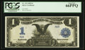 Large Size:Silver Certificates, Fr. 232 $1 1899 Silver Certificate Serial Number R9R PCGS Gem New 66PPQ.. ...