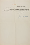 Autographs:Authors, James Norman Hall. Typed note signed, with transmittal envelope.Two creases, else very good. Writing partner of Charles Nor...