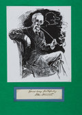 Autographs:Authors, John Tenniel (1820-1914). British artist and illustrator. Ink signature and sentiment. on 4.25 by .75 inch piece of paper cl...