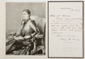 Autographs:Authors, Mary Augusta Ward (Mrs. Humphry Ward). British novelist. Autograph note signed. Creases, else good. Mounted with related pic...