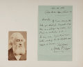 Autographs:Authors, Martin Farquhar Tupper (1810-1889). British Poet. Autograph lettersigned, mounted with photograph. Paper splitting along cr...