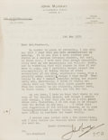 Autographs:Authors, Sir John Murray, Jr. (1884-1967). British publisher. Typed lettersigned, with a six-line autograph note on the verso. Three...