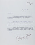 Autographs:Authors, Frederick Forsyth, author. Typed letter signed. Two folds. Very good....