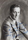 Autographs:Authors, Frederick Forsyth, author and British spy novelist. Inscribedphotograph, with his 100th birthday greeting. 5 by 3.5 inches....