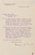 Autographs:Authors, William Orcutt (1870-1953). Typed Letter Signed. Orcutt was aprolific author of novels, books on books, and penned an early...