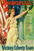 "Movie Posters:War, World War I Propaganda (Forbes, 1919). Howard Chandler ChristyPoster (27"" X 40"") ""Americans All!"". ..."