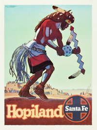 "Santa Fe Hopiland Buffalo Dancer Travel Poster (Santa Fe Railroad, 1949). Poster (18"" X 24"")"
