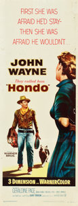"""Movie Posters:Western, Hondo (Warner Brothers, 1953). Insert (14"""" X 36"""") 3-D Style.. ..."""