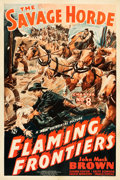 "Movie Posters:Serial, Flaming Frontiers (Universal, 1938). One Sheet (27"" X 41""). Chapter8 -- ""The Savage Horde."". ..."