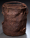 American Indian Art:Baskets, A NOOTKA TWINED UTILITY BAG...