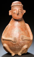 Pre-Columbian:Ceramics, A COLIMA VESSEL IN THE FORM OF A HUMAN FIGURE. c. 200 BC - 200AD...
