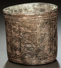 Pre-Columbian:Ceramics, AN INCISED CYLINDER VESSEL. c. 600 - 900 AD...