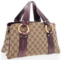 Luxury Accessories:Bags, Gucci Classic Monogram Canvas Tote Bag with Plum Metallic Leather& Gold Bamboo Accents. ...