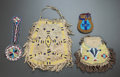 American Indian Art:Beadwork and Quillwork, FOUR PLAINS BEADED HIDE POUCHES. c. 1890... (Total: 4 Items)