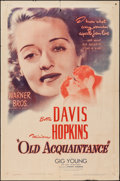 "Movie Posters:Drama, Old Acquaintance (Warner Brothers, 1943). One Sheet (27"" X 41""). Drama.. ..."