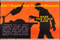 """Movie Posters:Miscellaneous, Don't Injure Your Fellow Workers (Mather and Company, 1923). Motivational Poster (28"""" X 41.5""""). Miscellaneous.. ..."""