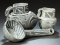 American Indian Art:Pottery, THREE ANASAZI BLACK-ON-WHITE POTTERY ITEMS. c. 1100 - 1200...(Total: 3 Items)