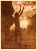 "American Indian Art:Photographs, EDWARD S. CURTIS, AMERICAN (1868 - 1952). ""Offering to the Sun -San Ildefonso,"" Photogravure..."