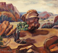 Texas:Early Texas Art - Modernists, ILA MAE WHITE (American, 20th Century). Palo Duro Canyon,Boulder, Colorado. Oil on canvas. 17-1/2 x 19 inches (44.5 x4...