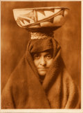 "American Indian Art:Photographs, EDWARD S. CURTIS, AMERICAN (1868 - 1952). ""A Zuni Woman,""Photogravure..."