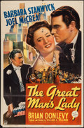 "Movie Posters:Romance, The Great Man's Lady (Paramount, 1941). One Sheet (27"" X 41""). Romance.. ..."