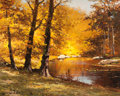Paintings, ROBERT WILLIAM WOOD (American, 1889-1979). October Hues. Oil on canvas. 16 x 20 inches (40.6 x 50.8 cm). Signed lower le...