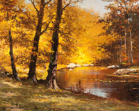 ROBERT WILLIAM WOOD (American, 1889-1979) October Hues Oil on canvas 16 x 20 inches (40.6 x 50.8