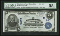 Winchester, NH - $5 1902 Plain Back Fr. 598 The Winchester NB Ch. # (N)887