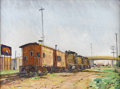 Texas:Early Texas Art - Regionalists, J. B. ERWIN (b. 1920). Rolling Stock in Carrollton, 1978.Oil on masonite. 18in. x 24in.. Signed and dated lower right. ...