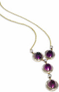 Estate Jewelry:Necklaces, Amethyst, Diamond, Gold Necklace. The Y-style necklace featuresbullet-cut amethyst cabochons measuring approximately 10.0...