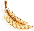 Estate Jewelry:Brooches - Pins, Retro Diamond, Citrine, Platinum, Gold Brooch. The brooch, designedas a stylized feather, features baguette and fancy-sha...