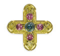 Estate Jewelry:Brooches - Pins, Aquamarine, Pink Tourmaline, Gold Pendant-Clip-Brooch, Burle Marx.The pendant-brooch, in the form of a Greek cross, cente...