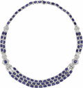 Estate Jewelry:Necklaces, Diamond, Sapphire, Platinum Necklace. The necklace featuresoval-shaped sapphires measuring approximately 6.00 x 4.00 mm a...