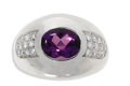 Estate Jewelry:Rings, Amethyst, Diamond, Platinum Ring, Mauboussin. The ring centers an oval-shaped amethyst cabochon measuring 10.00 x 7.50 x 6...