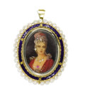 Estate Jewelry:Brooches - Pins, Painted Portrait Miniature, Diamond, Cultured Pearl, Enamel, GoldPendant-Brooch. The pendant-brooch features a painted po...