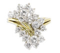 Estate Jewelry:Rings, Diamond, Gold Ring. The ring has a cascade design featuringfull-cut diamonds weighing a total of approximately 2.20 carat...