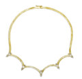Estate Jewelry:Necklaces, Diamond, Gold Necklace. The scalloped necklace features full-cutdiamonds weighing a total of approximately 3.15 carats, s...