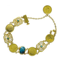 Faience Scarab, Turquoise, Gold Bracelet  The bracelet is highlighted by a faience scarab, enhanced by gold coins depict...
