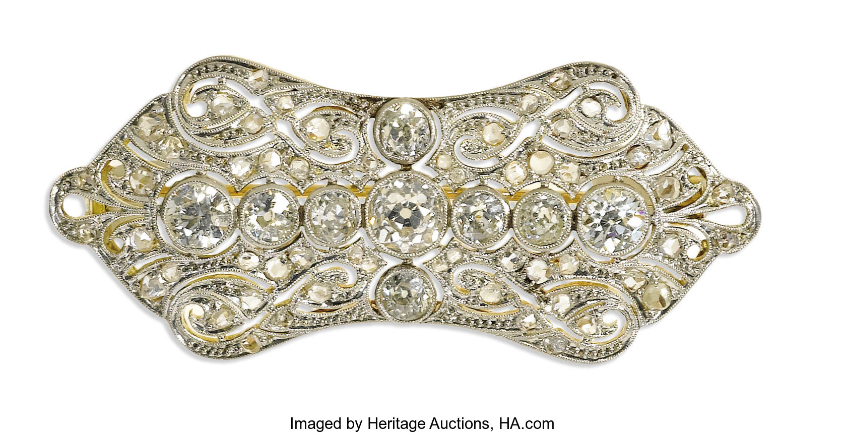 c87c71db5 Edwardian Diamond, Platinum-Topped Gold Brooch. The brooch is | Lot #39285  | Heritage Auctions