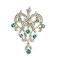 Estate Jewelry:Brooches - Pins, Diamond, Emerald, Gold Pendant-Brooch. The pendant-brooch featuresround-cut emeralds ranging in size from 2.40 to 3.70 mm...