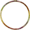 Estate Jewelry:Necklaces, Multi-Stone, Gold Necklace. The 'rainbow' necklace contains a suite of square-shaped colored gemstones including: amethyst...