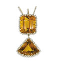 Estate Jewelry:Pendants and Lockets, Citrine, Diamond, Gold Pendant. The pendant features an emerald-cutcitrine measuring approximately 30.00 x 28.00 mm and w...