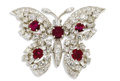Estate Jewelry:Brooches - Pins, Ruby, Diamond, Platinum Pendant-Brooch. The brooch, designed as abutterfly, features round-cut rubies ranging in size fro...