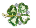 Estate Jewelry:Brooches - Pins, Peridot, Diamond, Gold Brooch. The brooch, designed as a four leaf clover, features heart-shaped peridot measuring approxi...