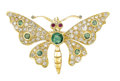 Estate Jewelry:Brooches - Pins, Emerald, Diamond, Ruby, Gold Pendant-Brooch. The brooch, designed as a butterfly, features round-cut emeralds weighing a t...
